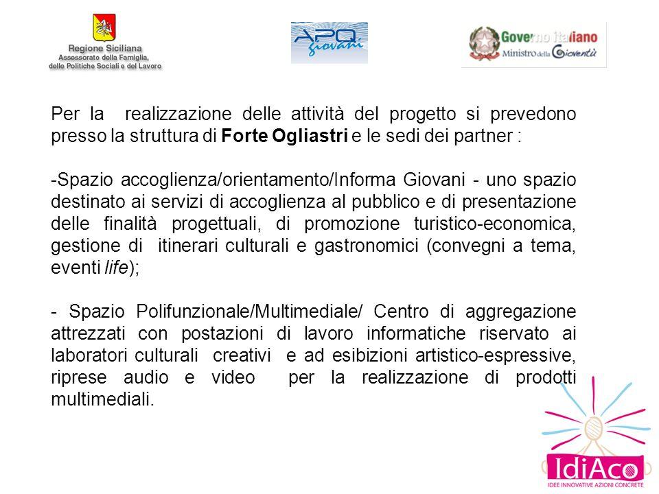 Per la realizzazione delle attività del progetto si prevedono presso la struttura di Forte Ogliastri e le sedi dei partner :