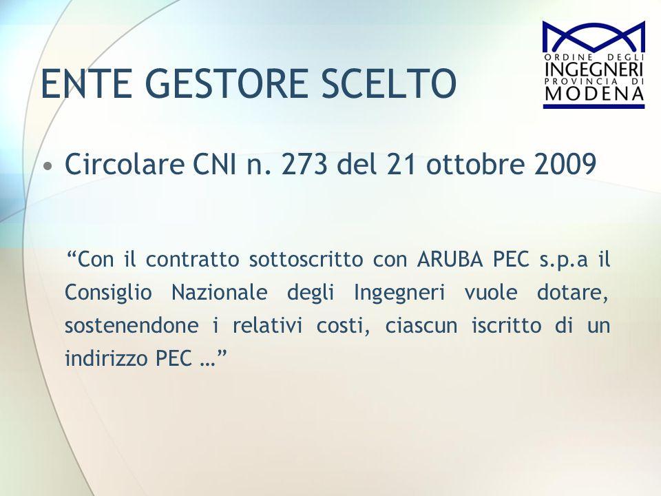 ENTE GESTORE SCELTO Circolare CNI n. 273 del 21 ottobre 2009
