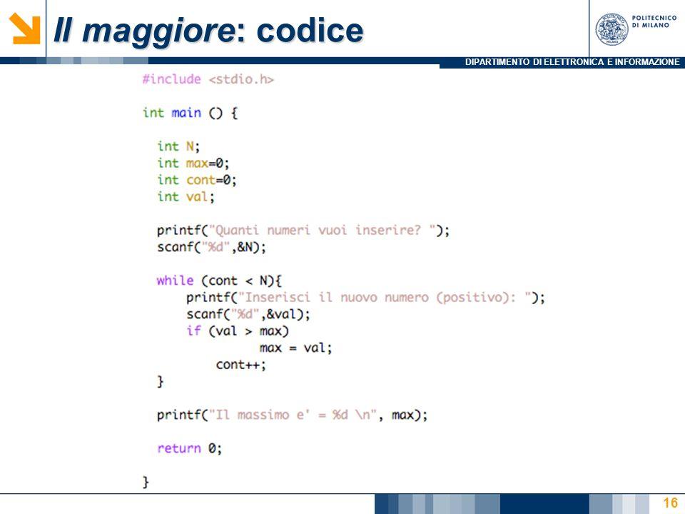 Il maggiore: codice