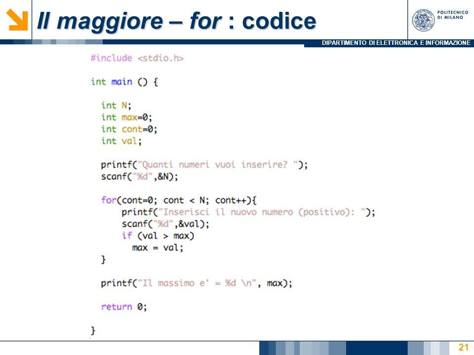 Il maggiore – for : codice