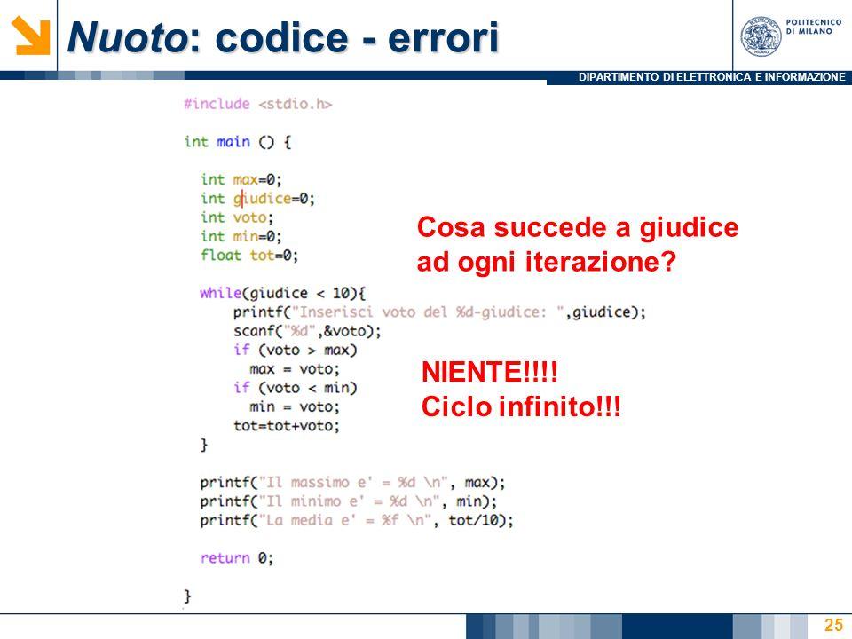 Nuoto: codice - errori Cosa succede a giudice ad ogni iterazione