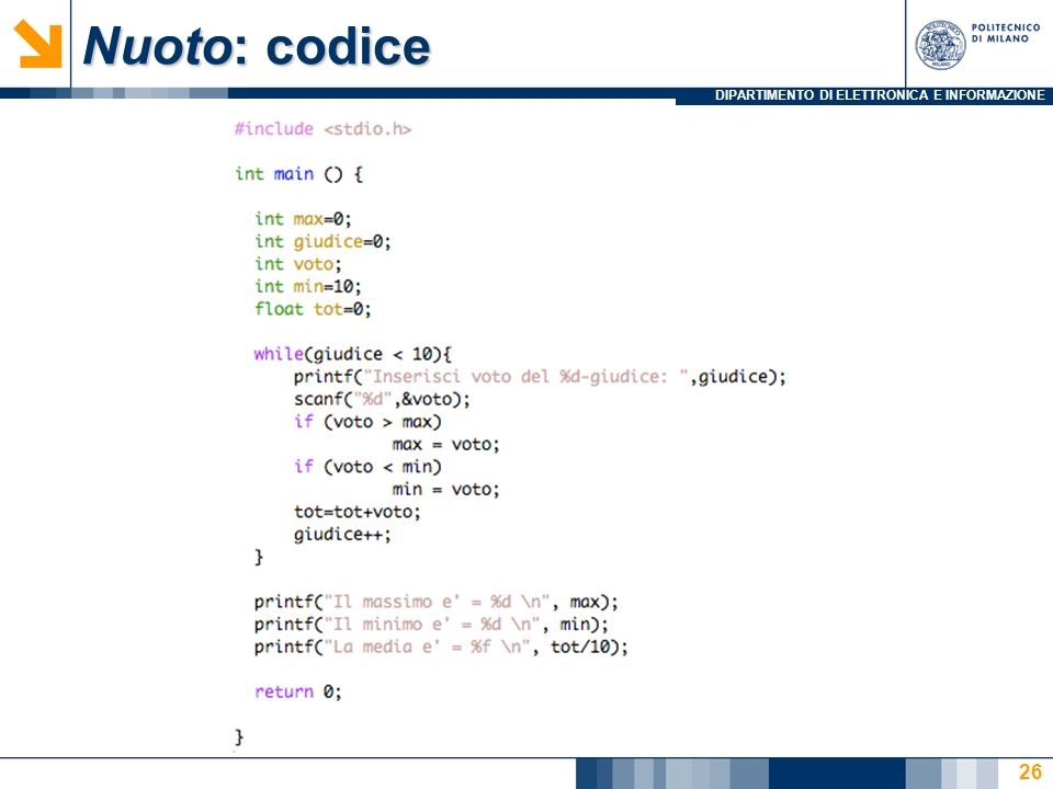 Nuoto: codice