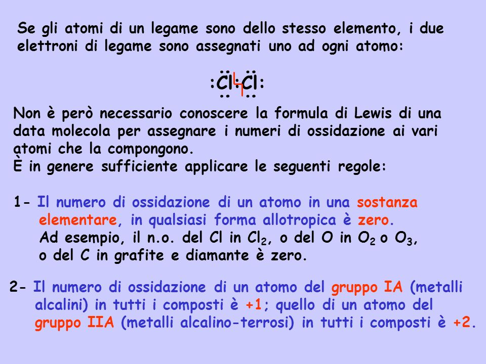 Se gli atomi di un legame sono dello stesso elemento, i due elettroni di legame sono assegnati uno ad ogni atomo: