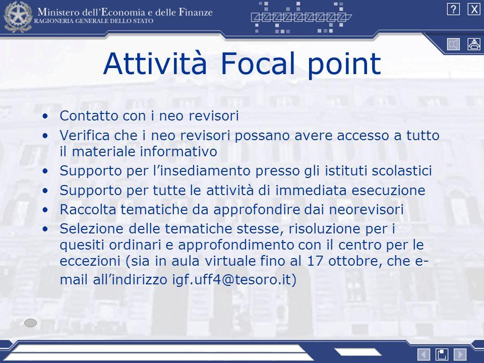 Attività Focal point Contatto con i neo revisori