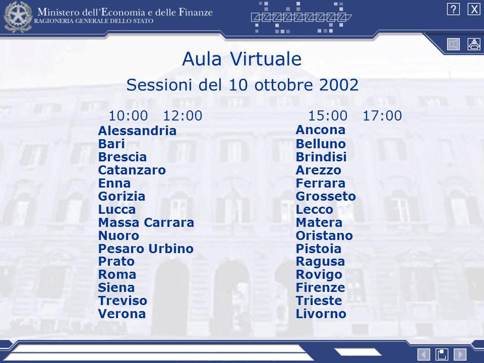 Aula Virtuale Sessioni del 10 ottobre 2002 10:00 12:00 15:00 17:00