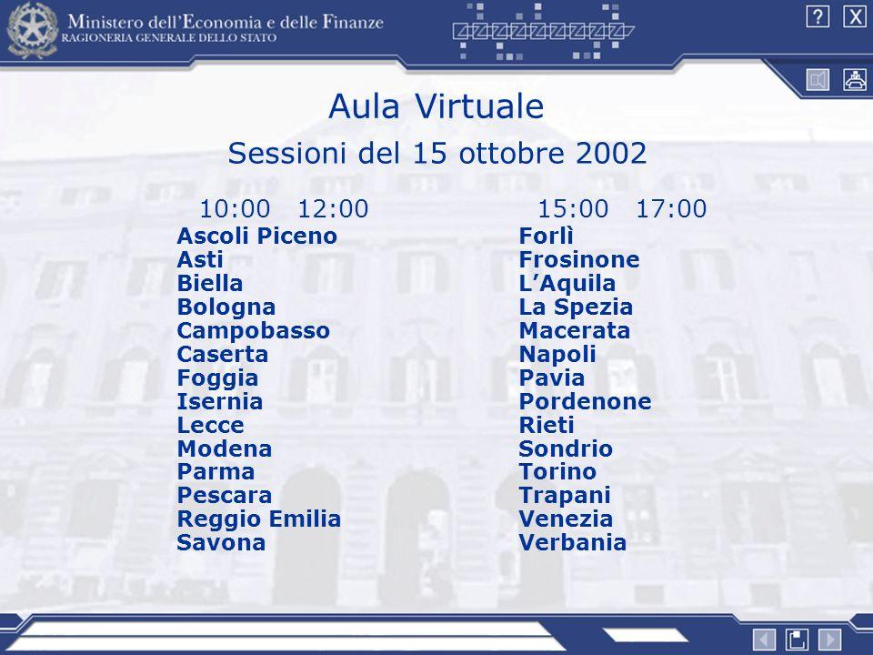 Aula Virtuale Sessioni del 15 ottobre 2002 10:00 12:00 15:00 17:00