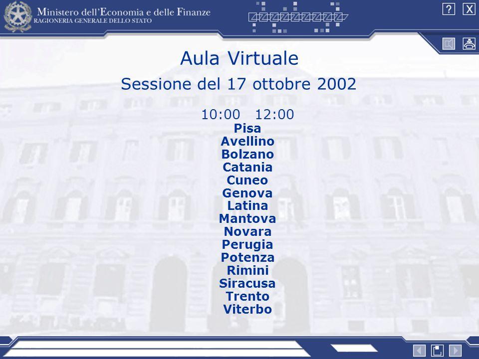 Aula Virtuale Sessione del 17 ottobre 2002 10:00 12:00 Pisa Avellino