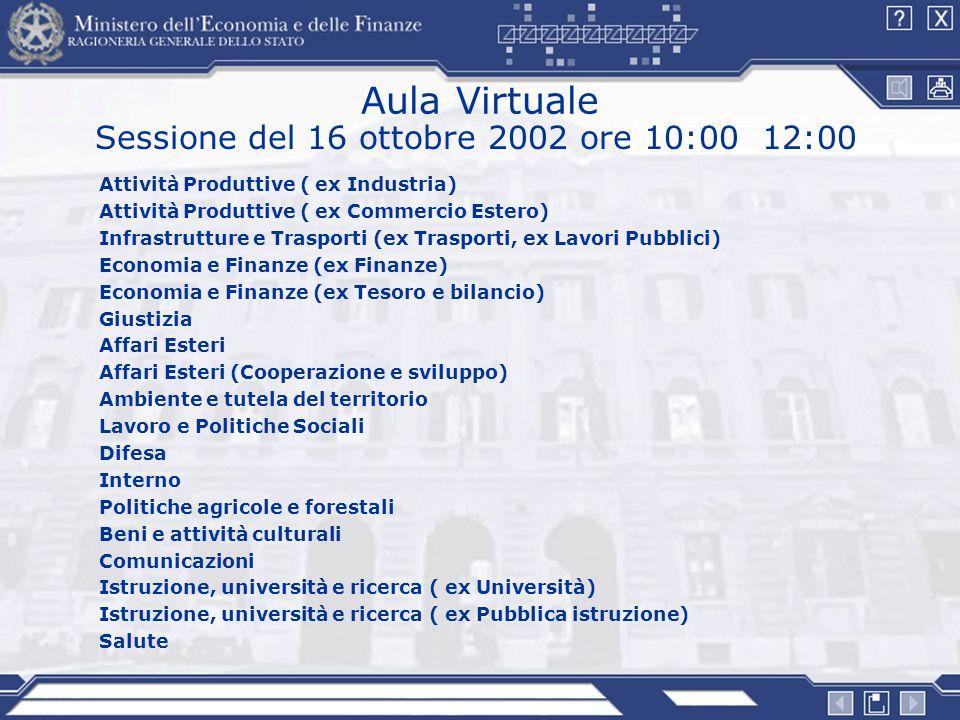 Sessione del 16 ottobre 2002 ore 10:00 12:00