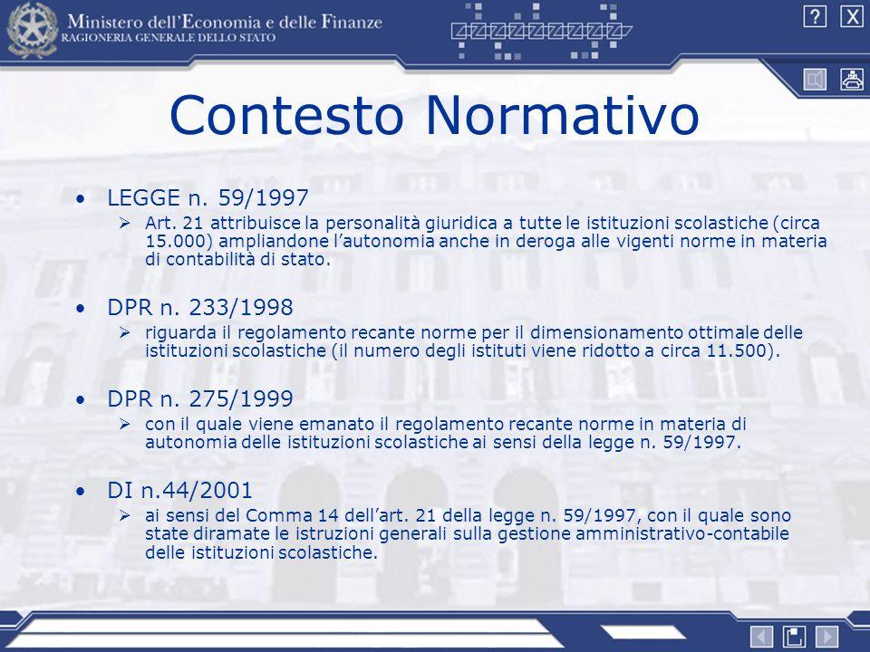 Contesto Normativo LEGGE n. 59/1997 DPR n. 233/1998 DPR n. 275/1999