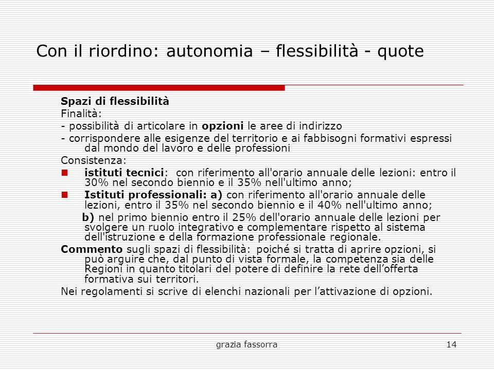 Con il riordino: autonomia – flessibilità - quote