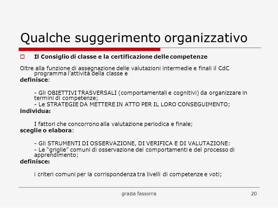 Qualche suggerimento organizzativo