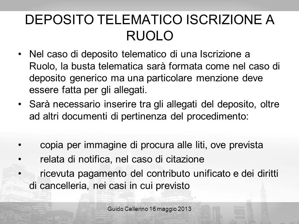 DEPOSITO TELEMATICO ISCRIZIONE A RUOLO