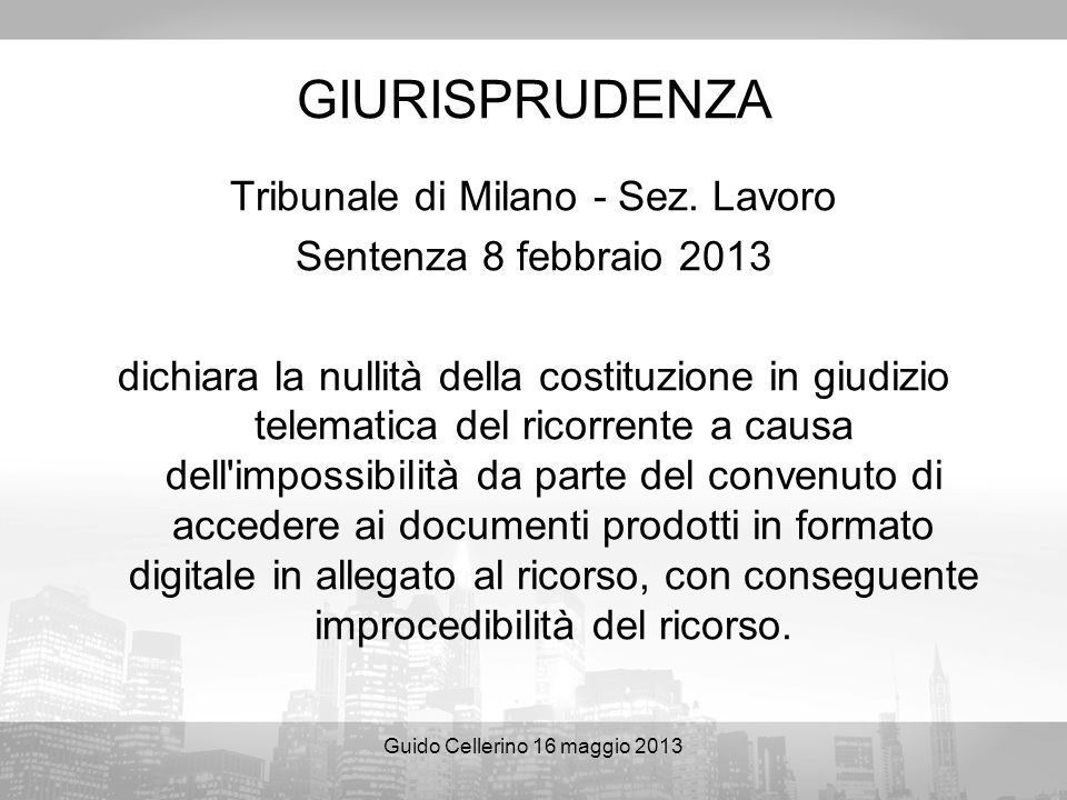GIURISPRUDENZA Tribunale di Milano - Sez. Lavoro