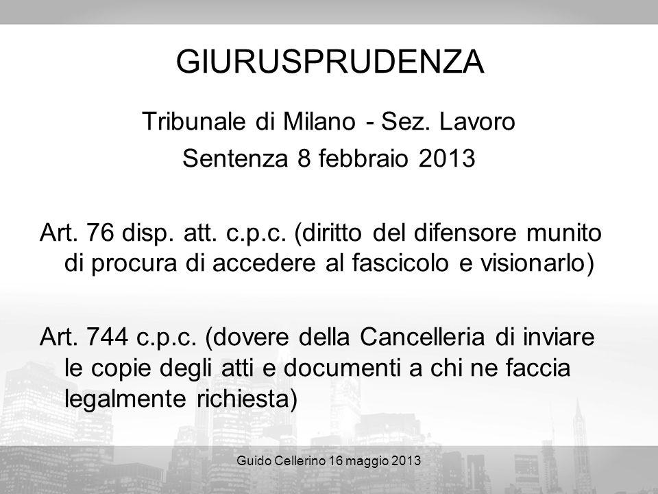 GIURUSPRUDENZA Tribunale di Milano - Sez. Lavoro