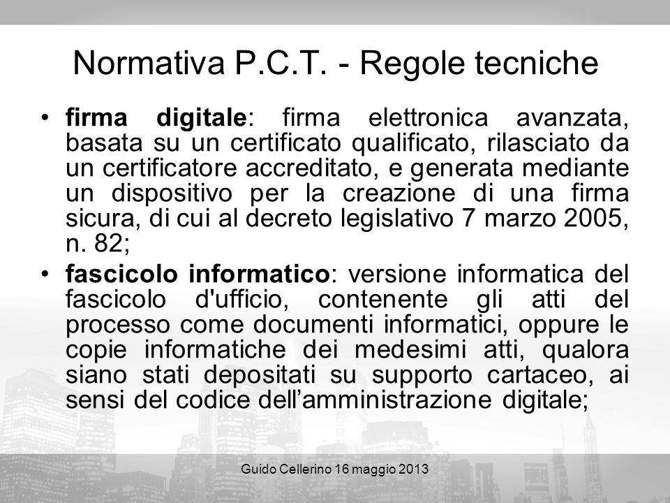 Normativa P.C.T. - Regole tecniche
