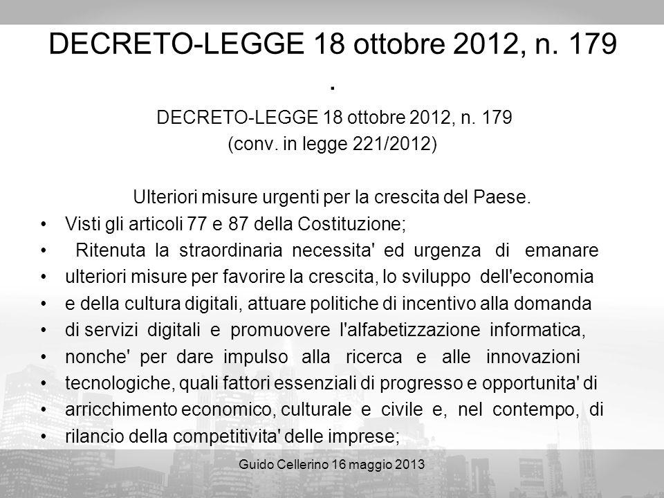 DECRETO-LEGGE 18 ottobre 2012, n. 179 .