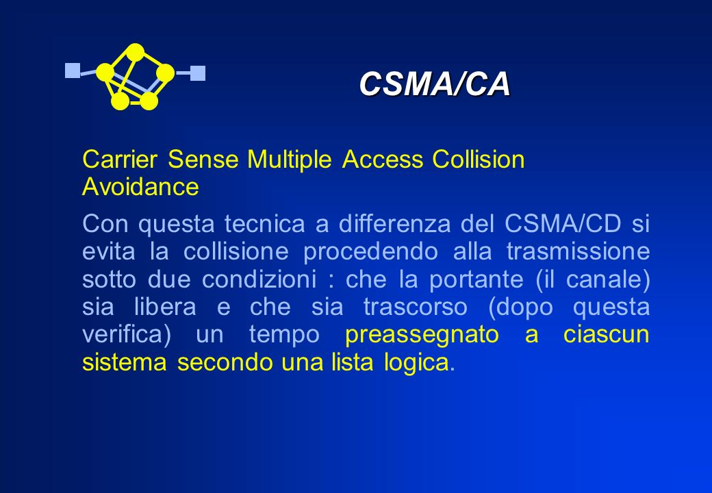 CSMA/CA Carrier Sense Multiple Access Collision Avoidance