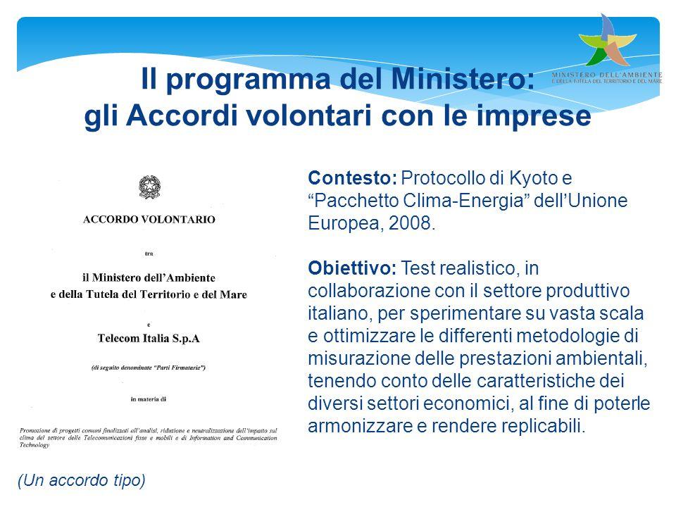 Il programma del Ministero: gli Accordi volontari con le imprese
