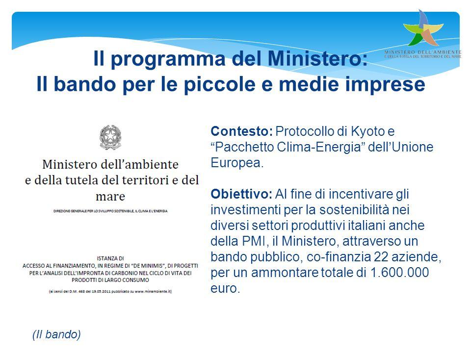Il programma del Ministero: Il bando per le piccole e medie imprese