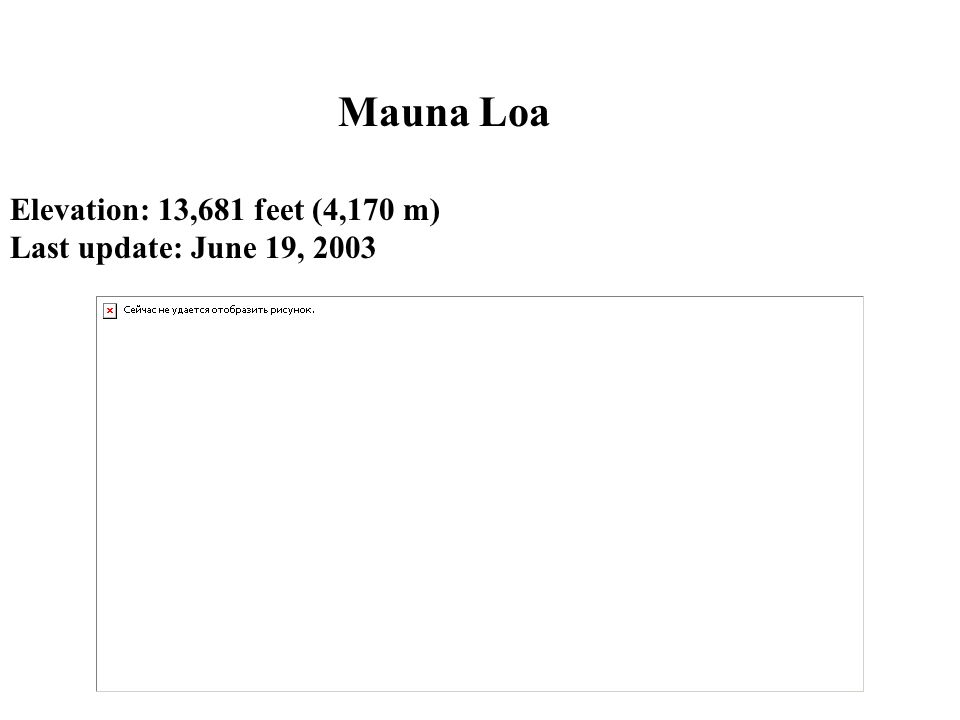 Mauna Loa Elevation: 13,681 feet (4,170 m) Last update: June 19, 2003