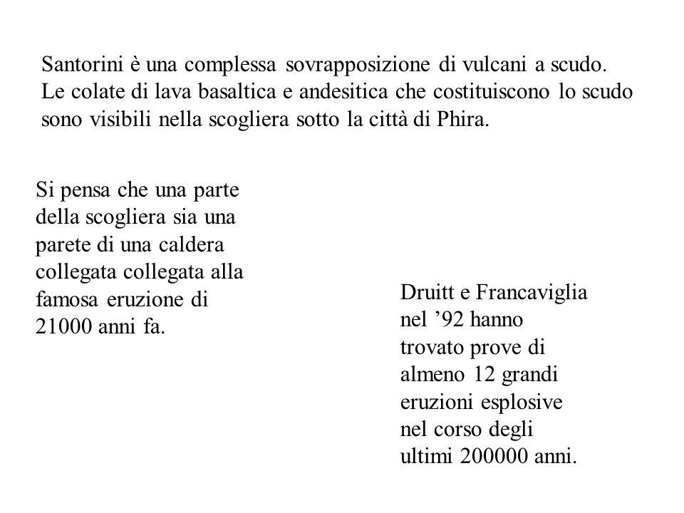 Santorini è una complessa sovrapposizione di vulcani a scudo