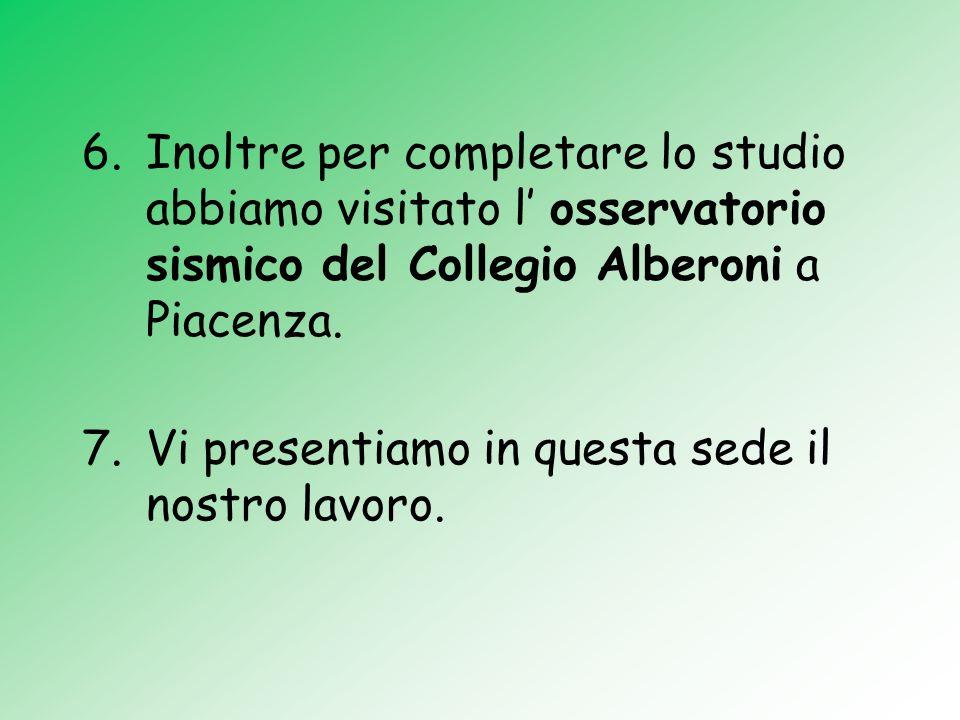 Inoltre per completare lo studio abbiamo visitato l' osservatorio sismico del Collegio Alberoni a Piacenza.