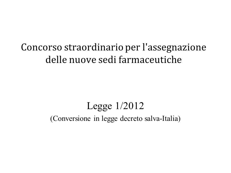 Legge 1/2012 (Conversione in legge decreto salva-Italia)