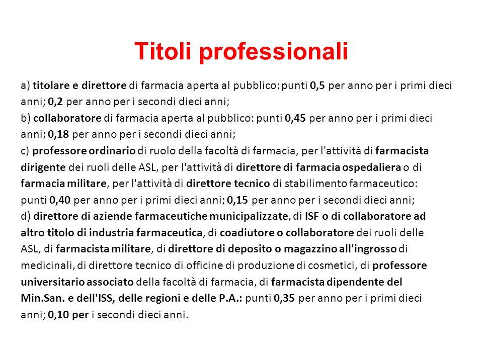 Titoli professionali a) titolare e direttore di farmacia aperta al pubblico: punti 0,5 per anno per i primi dieci.