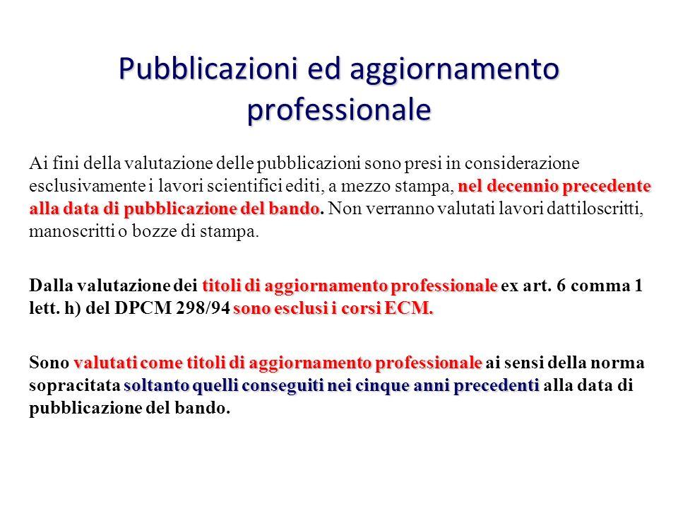 Pubblicazioni ed aggiornamento professionale