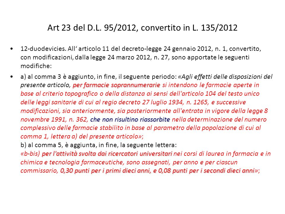 Art 23 del D.L. 95/2012, convertito in L. 135/2012