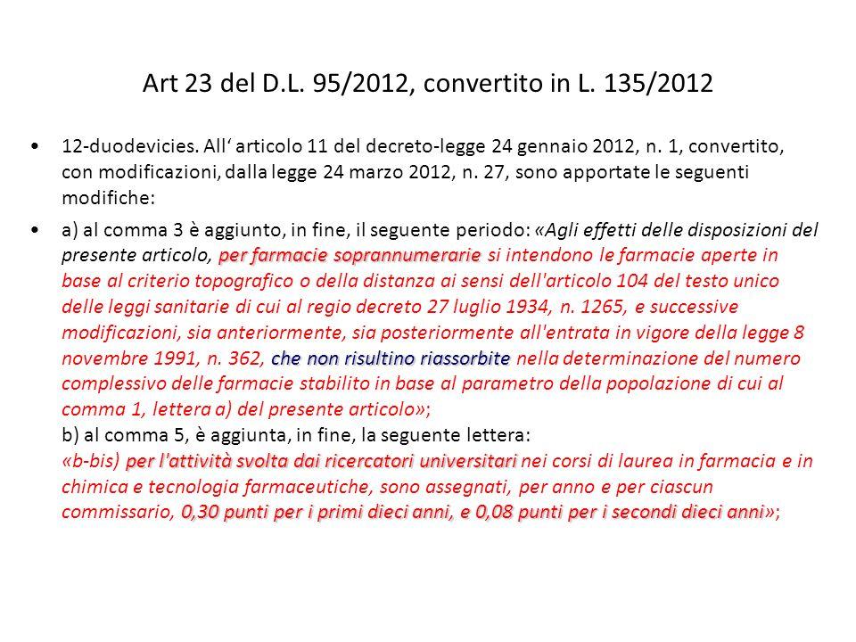 Art 23 del D.L. 95/2012, convertito in L. 135/2012