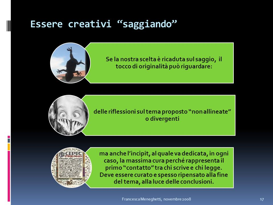 Essere creativi saggiando