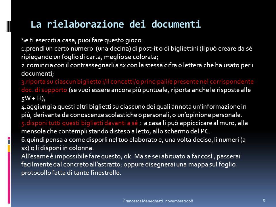 La rielaborazione dei documenti