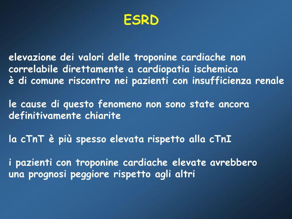 ESRD elevazione dei valori delle troponine cardiache non