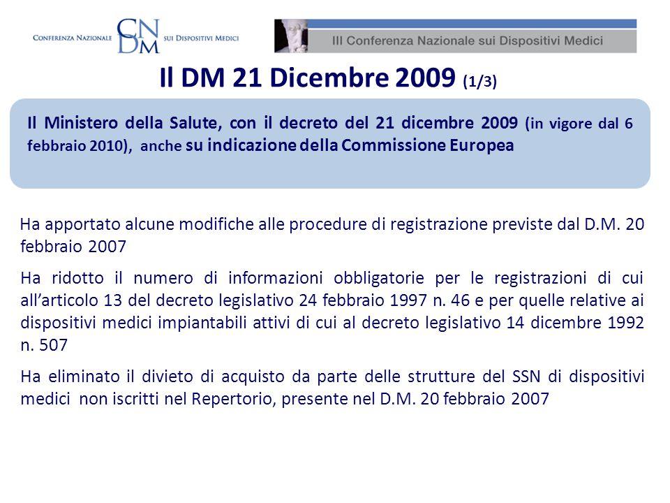Il DM 21 Dicembre 2009 (1/3)