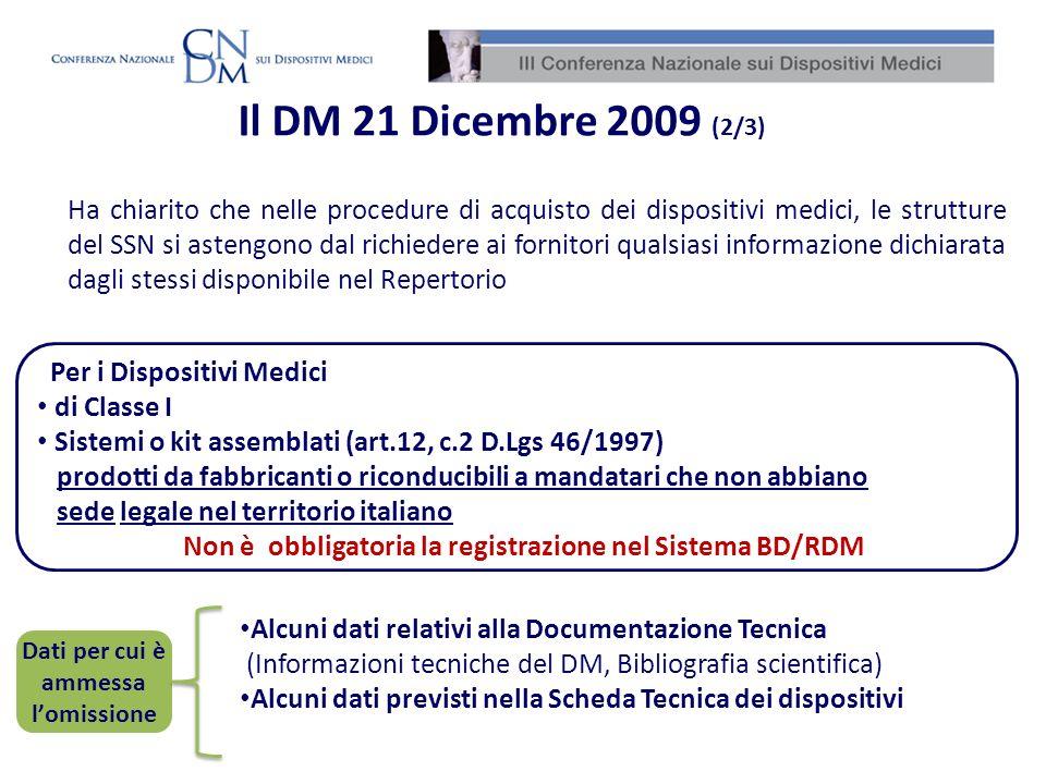 Il DM 21 Dicembre 2009 (2/3)