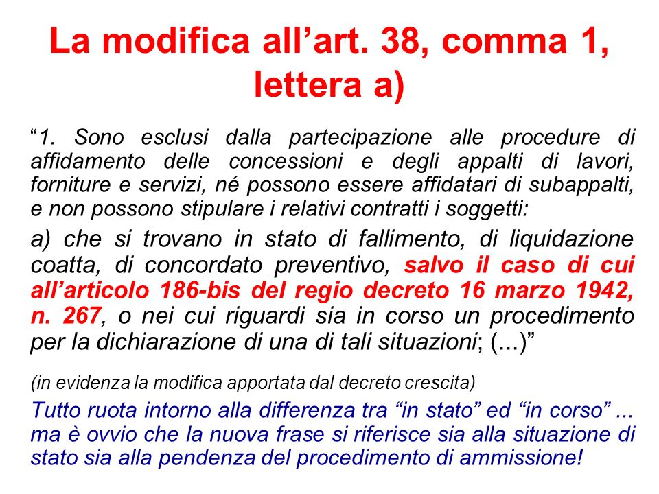 La modifica all'art. 38, comma 1, lettera a)