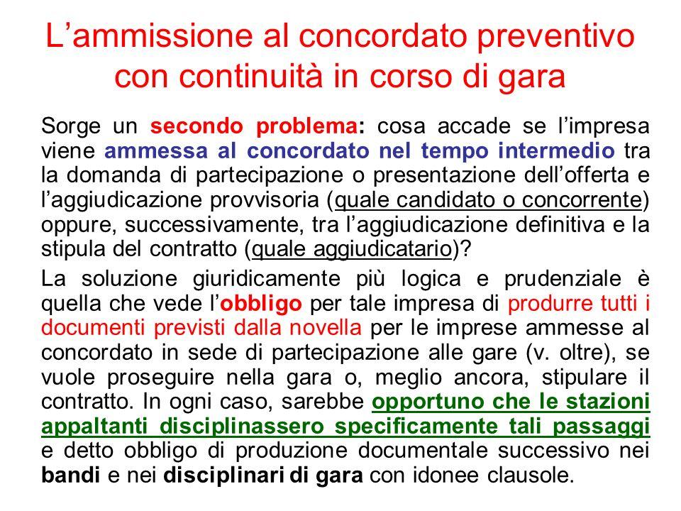 L'ammissione al concordato preventivo con continuità in corso di gara