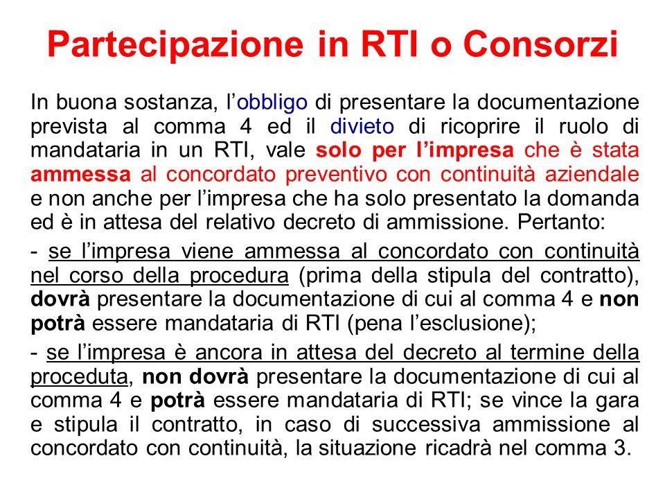 Partecipazione in RTI o Consorzi