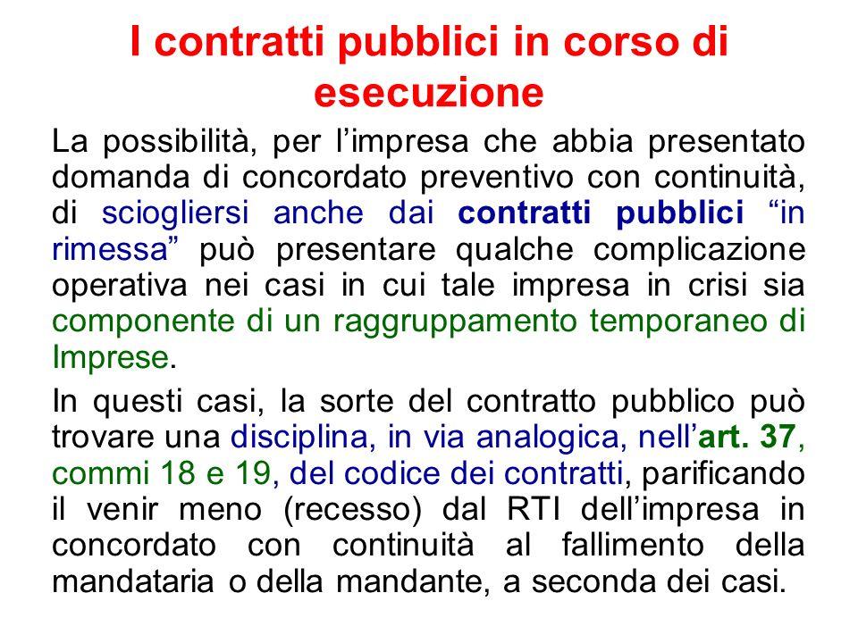I contratti pubblici in corso di esecuzione