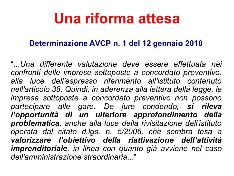 Determinazione AVCP n. 1 del 12 gennaio 2010