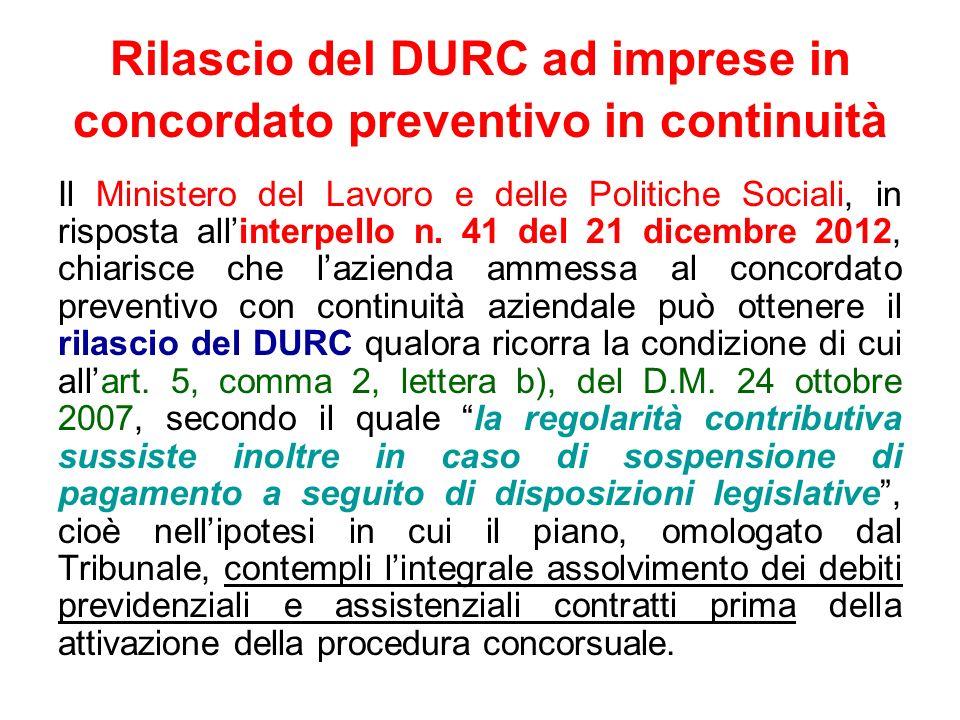 Rilascio del DURC ad imprese in concordato preventivo in continuità