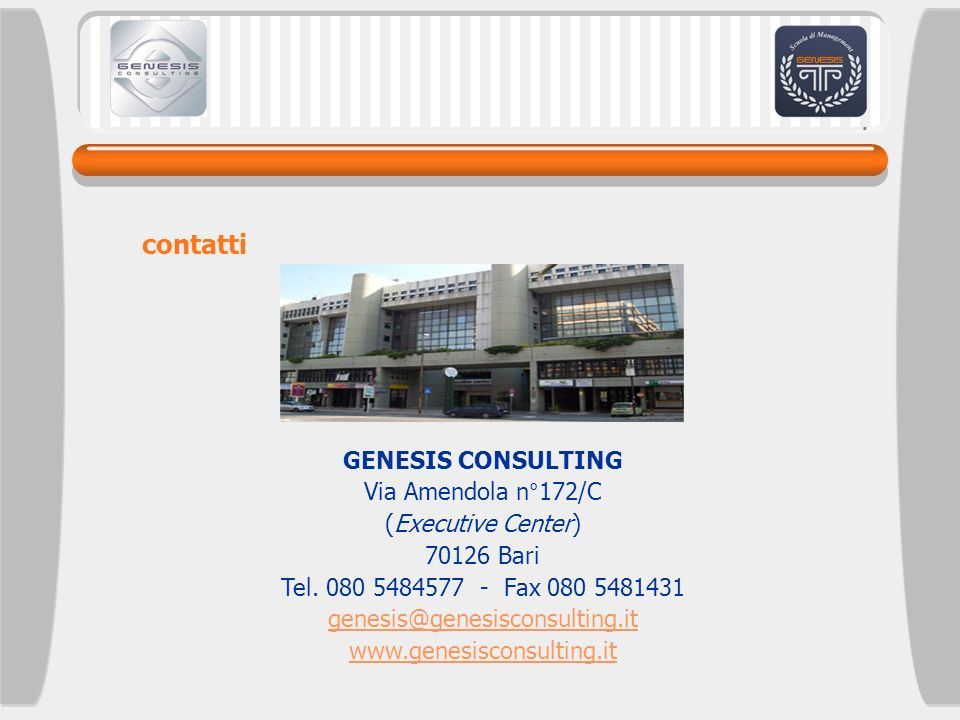 contatti GENESIS CONSULTING Via Amendola n°172/C (Executive Center)