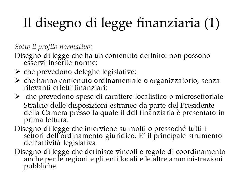 Il disegno di legge finanziaria (1)