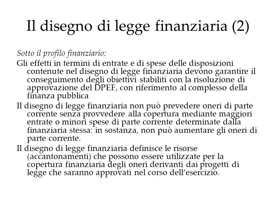 Il disegno di legge finanziaria (2)