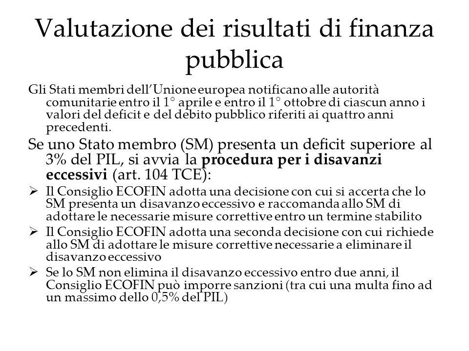 Valutazione dei risultati di finanza pubblica