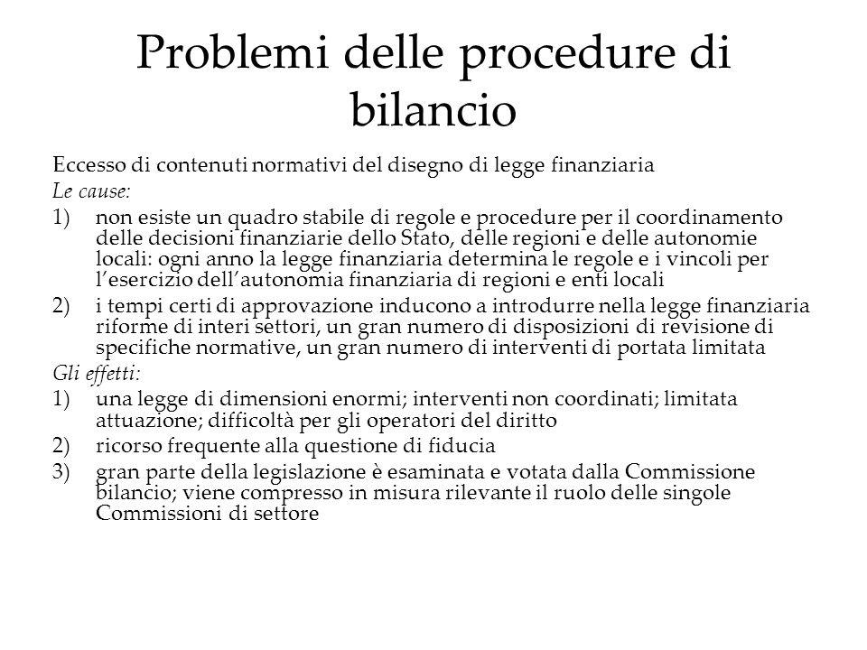 Problemi delle procedure di bilancio