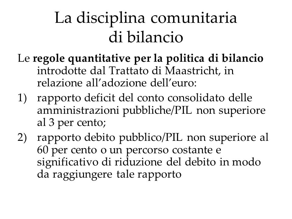 La disciplina comunitaria di bilancio