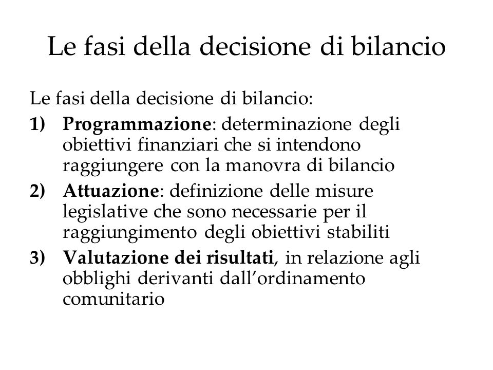 Le fasi della decisione di bilancio