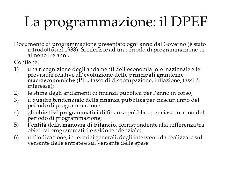 La programmazione: il DPEF